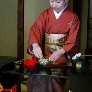 Cérémonie du thé au jardin Gyokusen-en, Kanazawa, préfecture d'Ishikawa