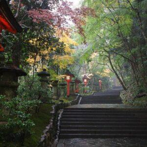 Escalier et lanternes au sanctuaire Usa jingu, Usa, préfecture d'Oita