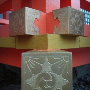 Les poutres vermillons du sanctuaire Usa jingu, Usa, préfecture d'Oita