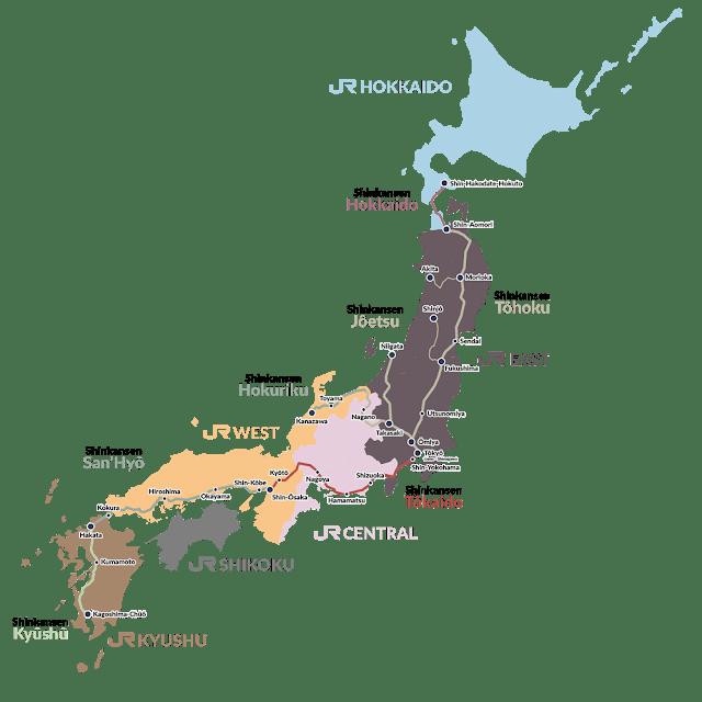 Répartition des lignes de shinkansen au Japon
