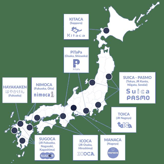 Répartition des cartes IC au Japon