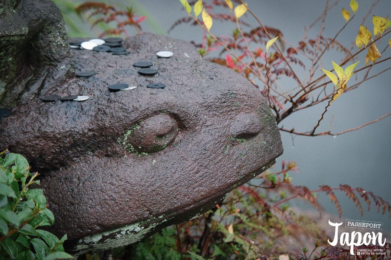 Statue, Enfer de bozu jigoku, Beppu, préfecture d'Oita