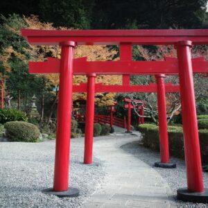 Torii sanctuaire, Enfer d'Umi jigoku, Beppu, préfecture d'Oita