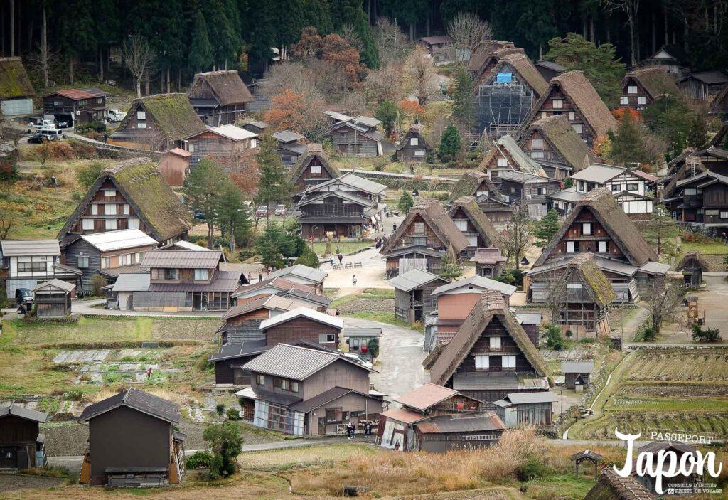 Panorama sur Shirakawago, préfecture de Gifu