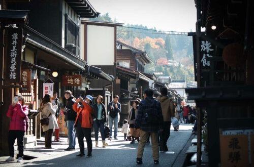 Rue commerçante à Takayama, préfecture de Gifu