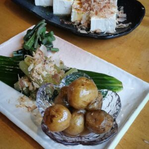 Légumes et hiyayakko au restaurant d'Hirayu-no-mori, Okuhida onsen, préfecture de Gifu