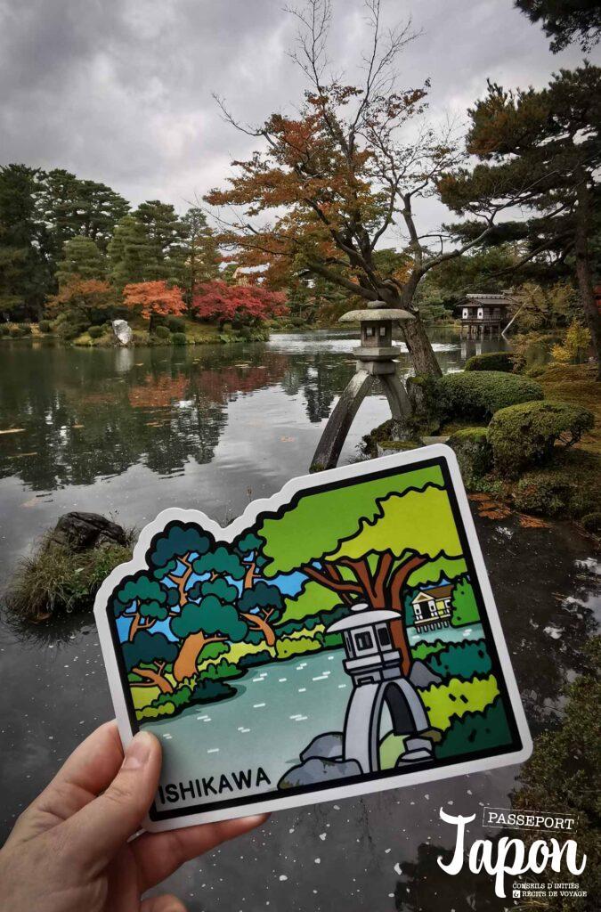 Gotochi card challenge jardin Kenrokuen, Kanazawa, préfecture d'Ishikawa