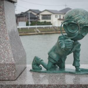 Statue Détective Conan à Hokuei, préfecture de Tottori