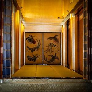 Peinture sur porte coulissante au temple Higashi Honganji, préfecture de Kyoto