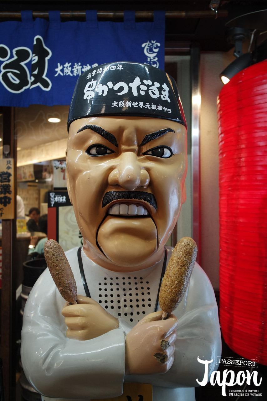 Enseigne Kushikatsu Daruma à Dotonbori, préfecture d'Osaka