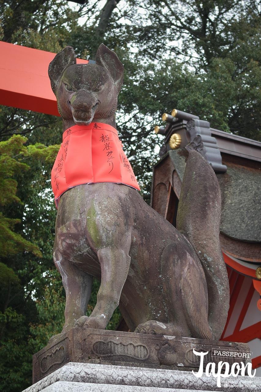 Statue O-Kitsune-san, sanctuaire Fushimi Inari Taisha, préfecture de Kyoto