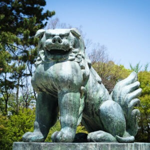 Komainu du sanctuaire Hôkoku-jinja, château d'Osaka