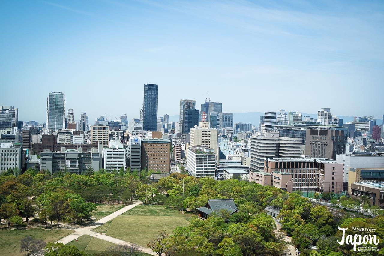 Vue panoramique depuis l'observatoire du château d'Osaka